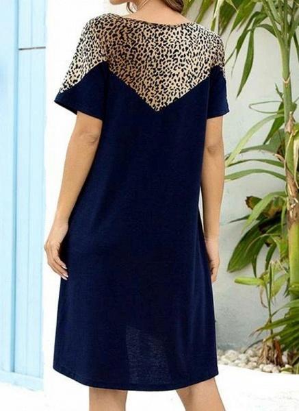 Burgundy Plus Size Tunic Leopard Round Neckline Casual Pockets Plus Dress_6