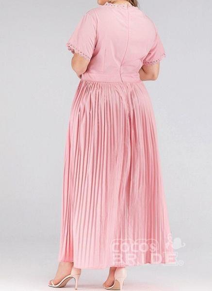 Pink Plus Size Solid Round Neckline Elegant Lace Maxi Plus Dress_4
