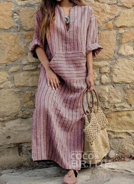 Green Plus Size Stripe V-Neckline Casual Pockets Plus Dress_2