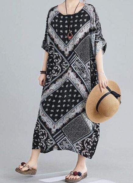 Black Plus Size Tunic Geometric Round Neckline Casual Maxi Plus Dress_1