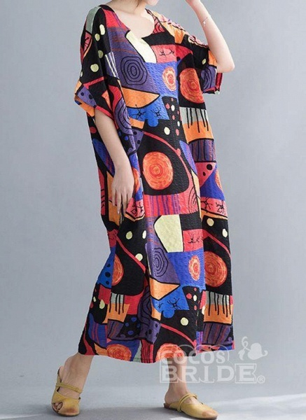 Blue Plus Size Tunic Color Block Round Neckline Casual Midi Plus Dress_3