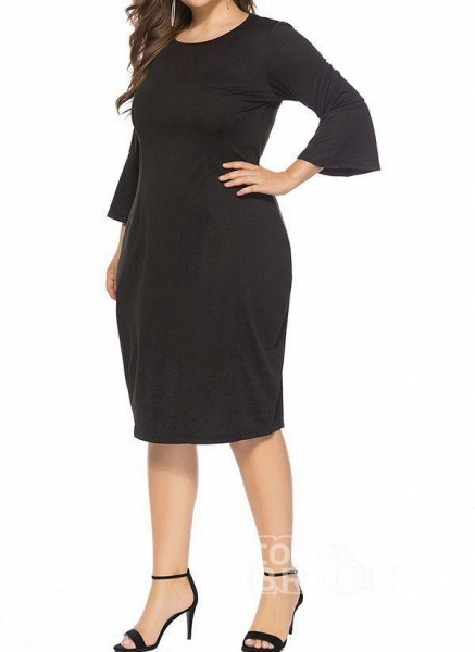 Green Plus Size Pencil Solid Round Neckline Casual Knee-Length Plus Dress_5