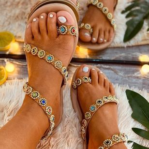 Women's Rhinestone Toe Ring Flat Heel Sandals_3