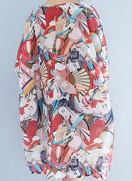 Pink Plus Size Tunic Color Block Round Neckline Casual Above Knee Plus Dress_7