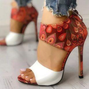Women's Zipper Flower Heels Stiletto Heel Sandals_3