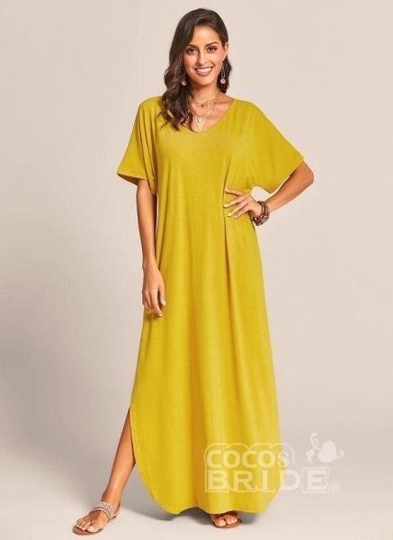 Royal Blue Plus Size Solid V-Neckline Casual Maxi Plus Dress_8