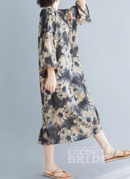 Dark Gray Plus Size Tunic Floral Round Neckline Casual Midi Plus Dress_4