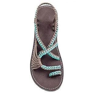 Women's Braided Strap Toe Ring Flat Heel Sandals_6
