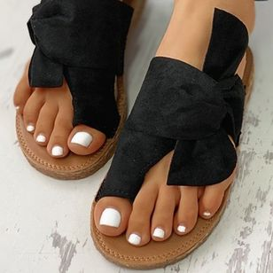 Women's Bowknot Flats Cloth Flat Heel Sandals_3
