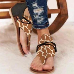 Women's Zipper Flip-Flops Cloth Flat Heel Sandals_4