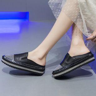 Women's Sequin Hollow-out Split Joint Slingbacks Wedge Heel Sandals_1
