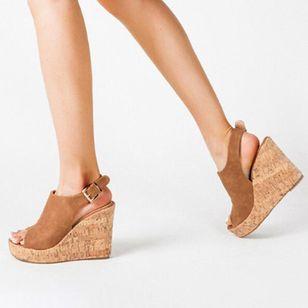 Women's Buckle Ankle Strap Peep Toe Wedge Heel Sandals_3