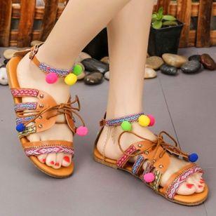Women's Rivet Lace-up Flats Low Top Flat Heel Sandals_1