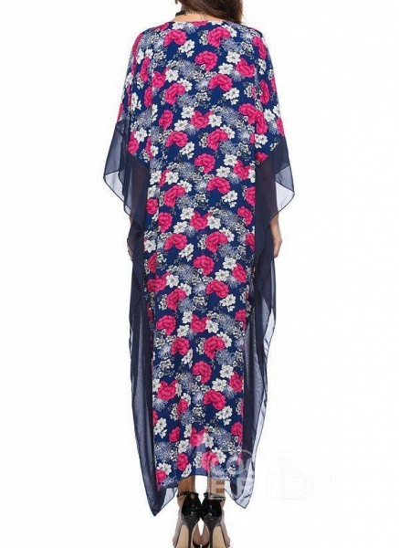 Blue Plus Size Tunic Floral V-Neckline Casual Maxi Plus Dress_2
