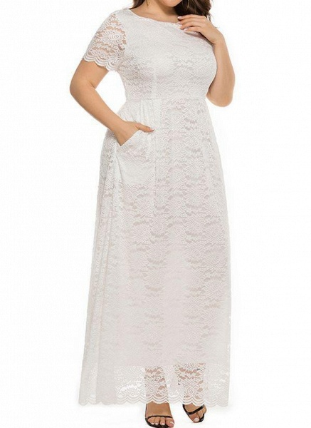 Off-white Plus Size Solid Round Neckline Casual Lace Pockets Maxi Plus Dress_1