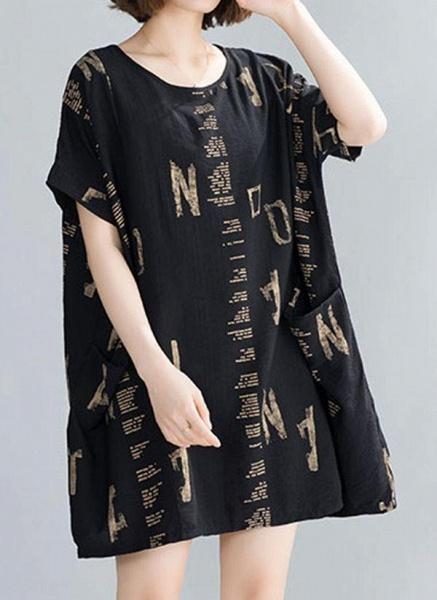 Black Plus Size Tunic Geometric Round Neckline Casual Pockets Plus Dress_1