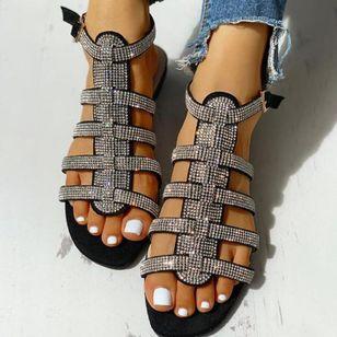 Women's Sequin Buckle Slingbacks Flat Heel Sandals_3