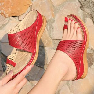 Women's Hollow-out Toe Ring Wedge Heel Sandals_8
