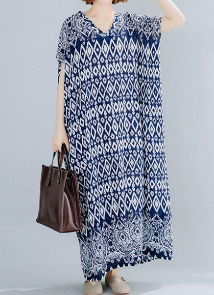 Dark Blue Plus Size Tunic Geometric V-Neckline Casual Maxi Plus Dress_1