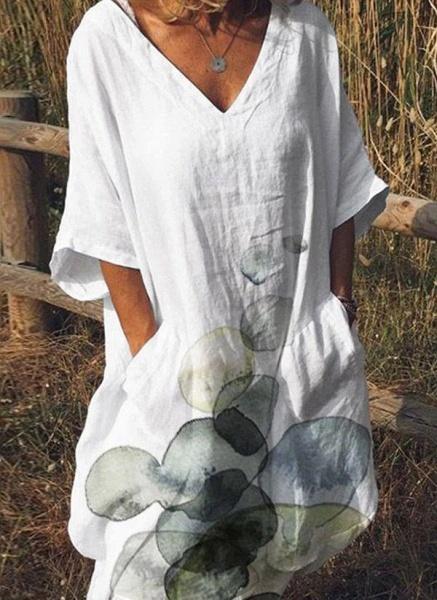 White Plus Size Tunic Color Block V-Neckline Casual Pockets Plus Dress_3
