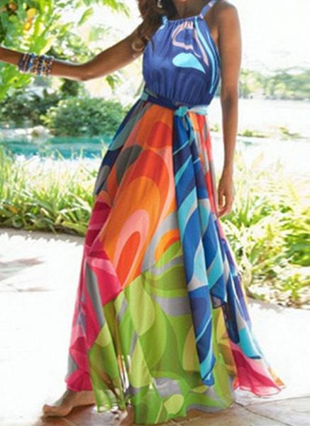 Casual Color Block Wrap Round Neckline X-line Dress_1