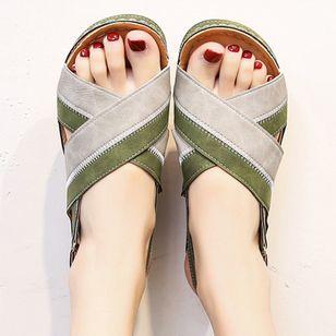 Women's Velcro Round Toe Flat Heel Sandals_4