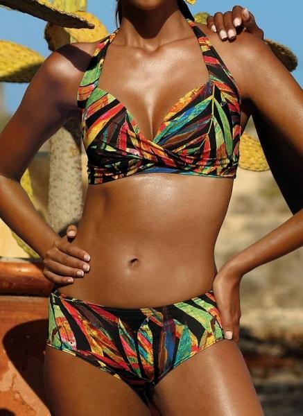 Polyester Halter Color Block Bikinis Swimwear_1