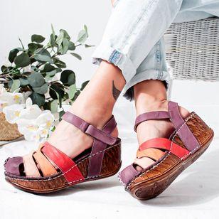 Women's Buckle Round Toe Wedge Heel Sandals_2
