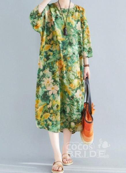 Plus Size Tunic Floral Round Neckline Casual Plus Dress_2