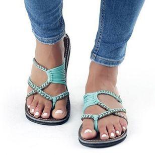 Women's Braided Strap Flip-Flops Flat Heel Sandals_2