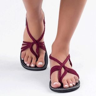 Women's Braided Strap Flip-Flops Cloth Flat Heel Sandals