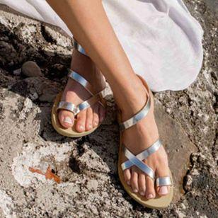 Women's Toe Ring Leatherette Flat Heel Sandals_4