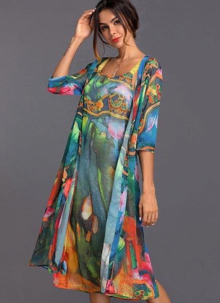 Arabian Wrap Tunic Round Neckline A-line Dress_2