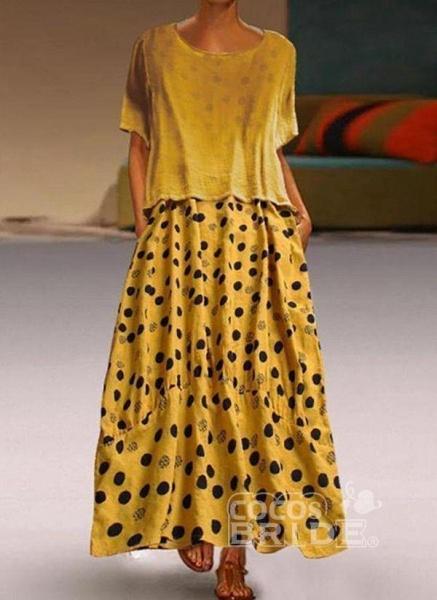Yellow Plus Size Tunic Polka Dot Round Neckline Casual Maxi Plus Dress_5