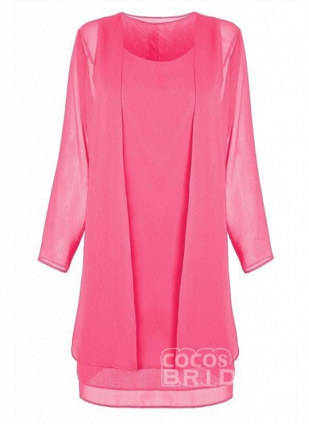 Purple Plus Size Tunic Solid Round Neckline Elegant Wrap Plus Dress_12