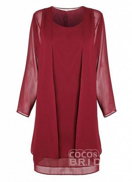 Purple Plus Size Tunic Solid Round Neckline Elegant Wrap Plus Dress_9