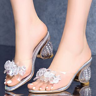 Women's Flower Modern Chunky Heel Sandals_3