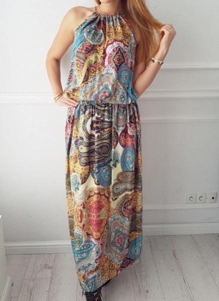 Casual Geometric Round Neckline Maxi X-line Dress_1