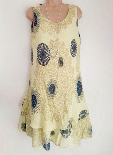 Casual Floral Round Neckline Above Knee Shift Dress_9
