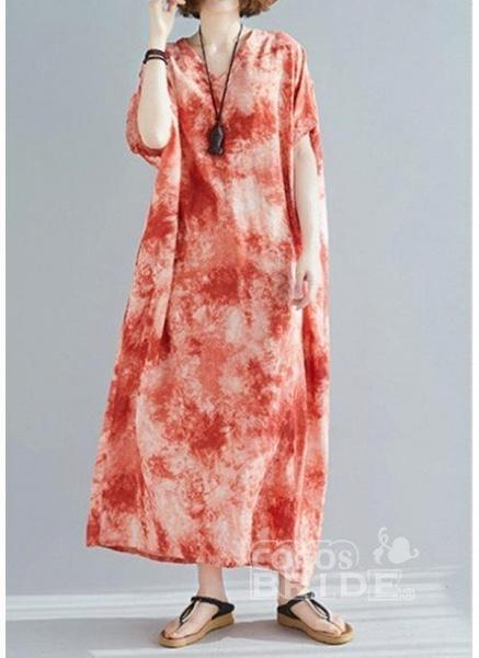 Dark Green Plus Size Tunic Color Block V-Neckline Casual Maxi Plus Dress_4