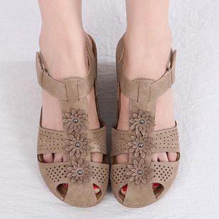 Women's Applique Closed Toe Wedge Heel Sandals_1