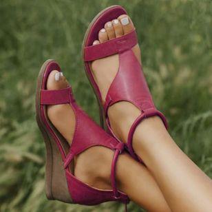 Women's Zipper Round Toe Wedge Heel Sandals_9