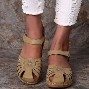 Women's Round Toe Wedge Heel Sandals_8
