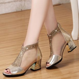 Women's Beading Zipper Heels Fabric Sparkling Glitter Chunky Heel Sandals_1