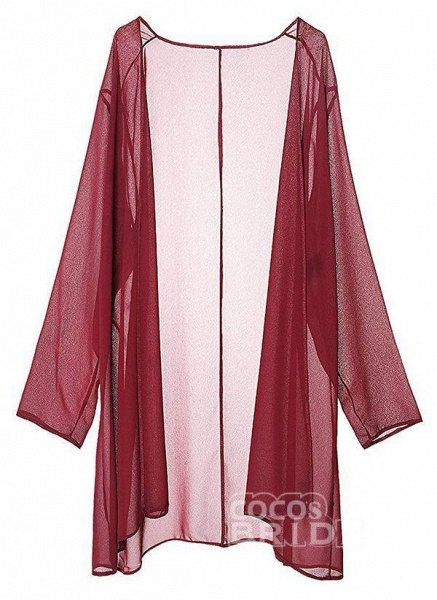 Burgundy Plus Size Solid Round Neckline Elegant Knee-Length Shift Dress Plus Dress_6