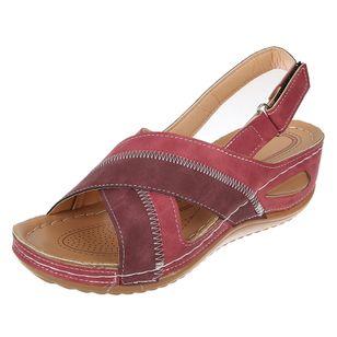 Women's Velcro Round Toe Nubuck Low Heel Sandals_2