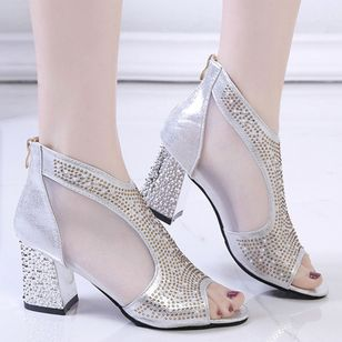 Women's Crystal Peep Toe Fabric Chunky Heel Sandals_5