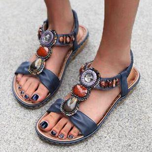 Women's Beading Round Toe Flat Heel Sandals_2