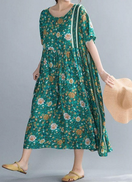Plus Size Tunic Floral Round Neckline Casual Midi Plus Dress_1