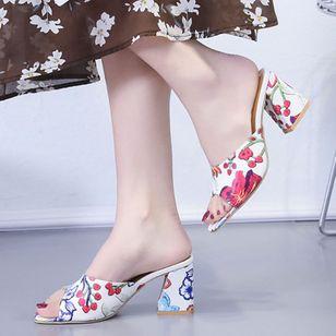 Women's Flower Heels Chunky Heel Sandals_6